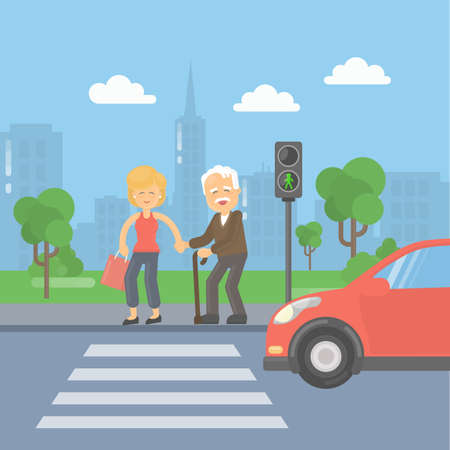 Helping old man. Woman helps an old man to cross the road and held the bags.