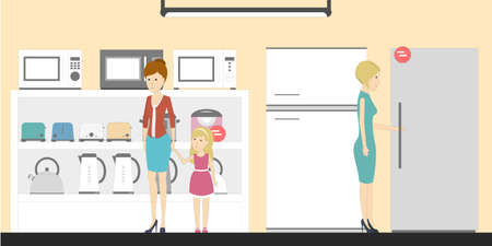 mujer en el supermercado: Appliance store with visitors. People buying refrigerators, washing machines and more. Credit department.