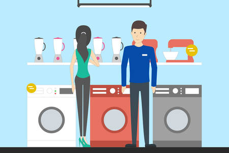 Appliance store with visitors. Credit department. People buying washing machines.