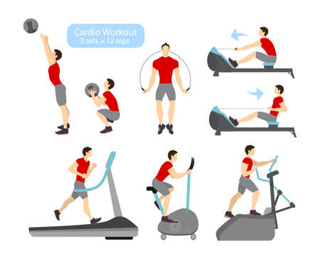 Cardio workout exercises on white backgroud. Exercises for men. Treadmill, cycling and jumping rope.