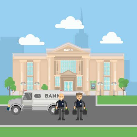 Cash transit bewakers met een busje. Twee lachende mannen in kogelvrije vesten met geld zakken. Landschap met bankgebouw. Stock Illustratie