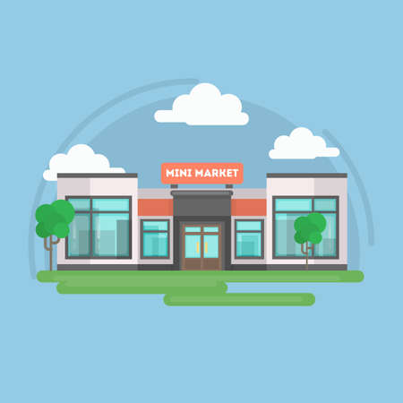 Mini market building outdoors with trees, sky and clouds. Illustration