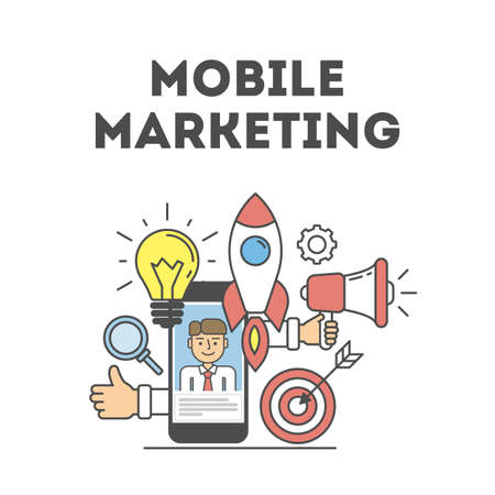 smart card: Mobile marketing concept. Banner with icons as loudsoeaker, hands, rocket and light bulb. Idea of e-commerce, technology and social media.
