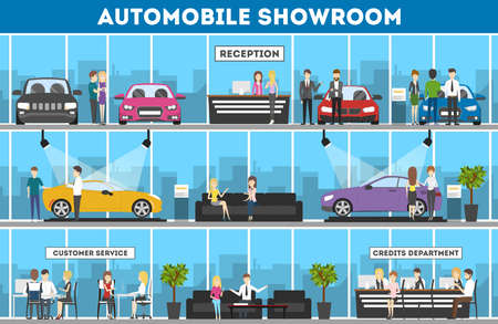 Showroom interior set. Automobiles for sell. Reception, customer service and credits department.