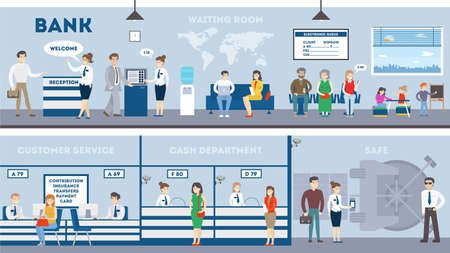 Bank interior set with visitors and workers. Waiting room, safe, customer service and cash department.