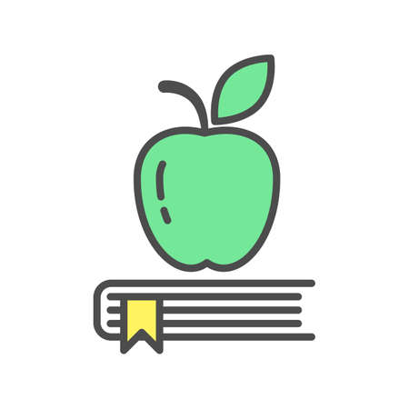 Apple On Books On White Background Isolated Icon Is Symbol Of