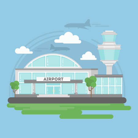 Isolated airport building. Urban architecture with landscape. Airplanes. Building with tower.