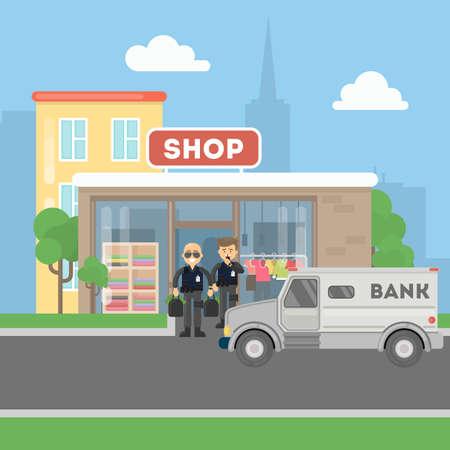 Cash transit bewakers met bestelwagens. Twee lachende mannen in kogelvrije vests met geldzakken. Landschap met winkelgebouw.