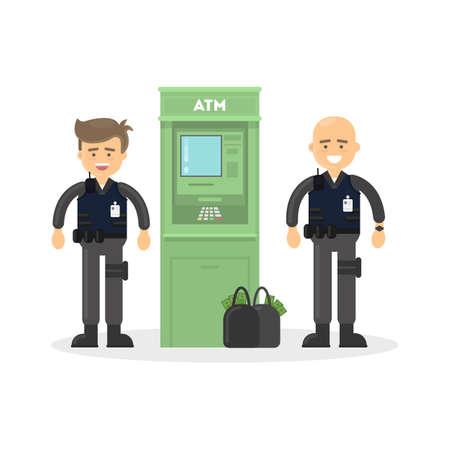 Cash transit bewakers. Twee lachende mannen in kogelvrije vesten met geld zakken. Geïsoleerd pinautomaat op een witte achtergrond.