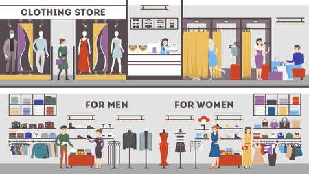 Interior de la tienda de ropa conjunto. Vestuario, moda masculina y femenina.