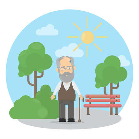 tiring: Old man outside suffers from heat. Sweating and being thirsty. Illustration