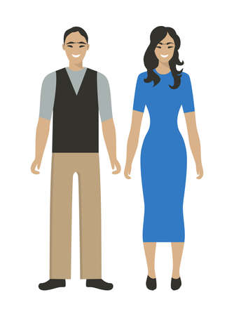 Isolated east couple on white background. Georgian man and woman. Illustration