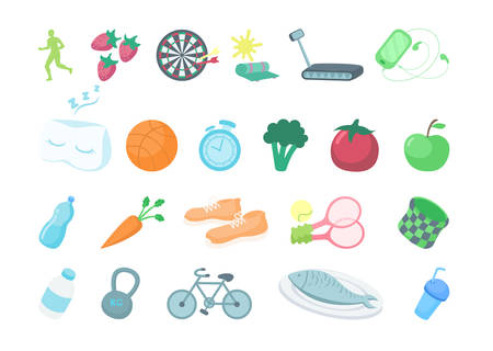 Healthy lifestyle icons set on white background. Apples, water, bycicle and more.