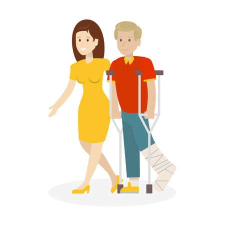 ヘルパーでは無効です。女性は、松葉杖と男を助けます。石膏の足。