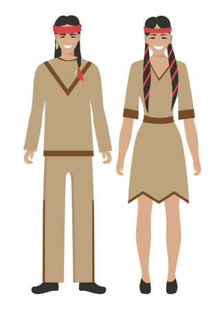 Isolated native americans couple on white background. Man and woman in traditional clothes.