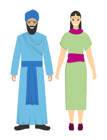 Isolated indians couple on white background. Man and woman in traditional clothes. Illustration