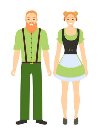 Isolated irish couple on white background. Man and woman in traditional clothes. People from Ireland.