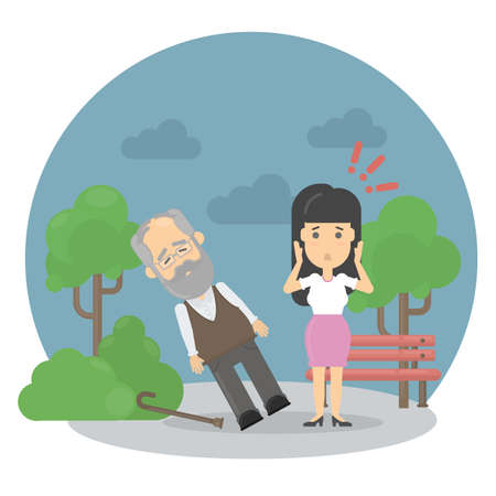 Heart attack symptoms. Old man with fainting. Worried woman. Vector Illustration
