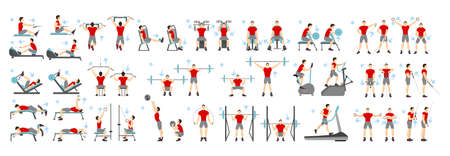 Men workout set. All kinds of exercises in gym like cardio, treadmill, body lifting and more using machines. Healthy lifestyle. Ilustração
