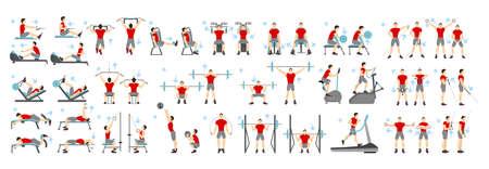 Les hommes séance d'entraînement fixé. Tous les types d'exercices dans le gymnase comme cardio, tapis de course, levage du corps et plus en utilisant des machines. Mode de vie sain.