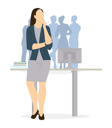 Isolated businesswoman thinking. Brainstorming and Deciding and guessing. Illustration