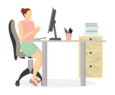 workday: Woman in office working. Isolated silhouette on white background. Secretary or businesswoman.
