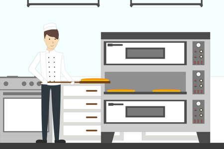 Horneando pizza en el restaurante. Joven chef en uniforme hace pizza y lo pone en el horno.