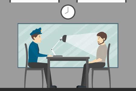 Interrogatorio del colpevole nella stazione di polizia. Stanza investigativa
