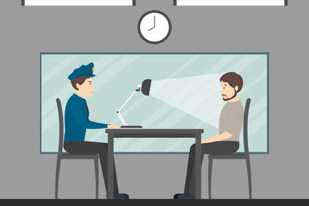 Interrogation of the guilty man in the police station. Investigation room. Illustration