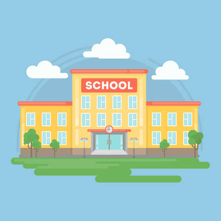 Isolated school building. Landscape with grass and clouds. Urban exterior. Illustration