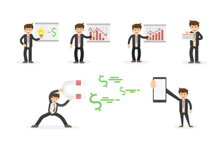 Businessman set on white.Man in suit with chartboards, analytics and magnet for money. Big smartphone screen. Illustration