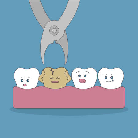 Bad tooth extraction. Good and bad teeth. Health care. Scared tooth. Illustration