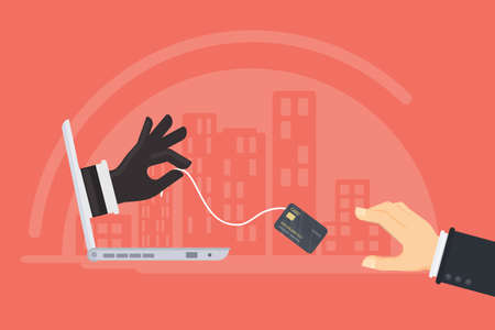 Credit card stealing. Thief steals money from the credit card through the mans laptop. Red background. Иллюстрация