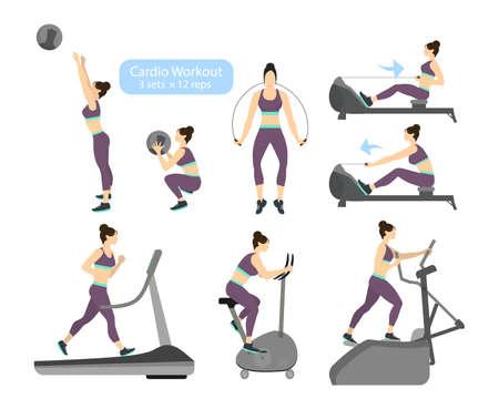 Bevorzugt Exercices De Cardio-training Sur Fond Blanc. Exercices Pour Femmes  WE23