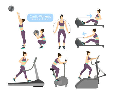 Cardio workout exercises on white backgroud. Exercises for women. Treadmill, cycling and jumping rope. Illustration