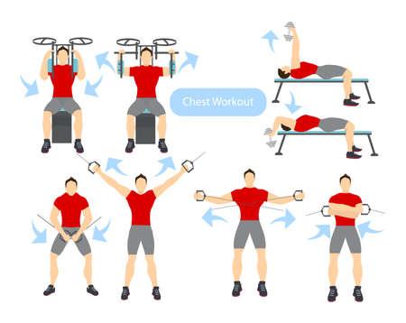 Chest workout set on white background. Exercises for men. Hard training. Illustration