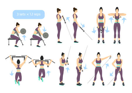 Arms workout set on white background. Exercises for women. Triceps, biceps strength.