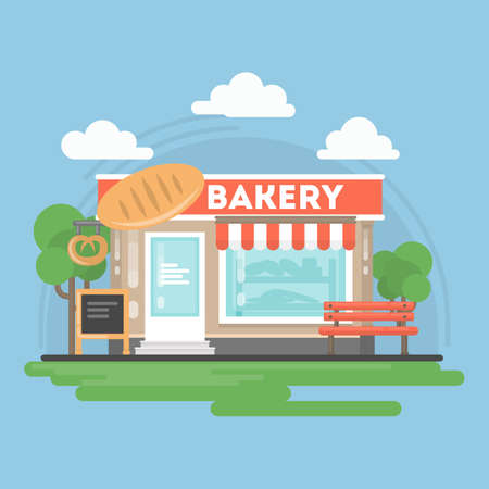 Bakery shop building with landscape. Storefront with bakery sig, bench and chalkboard.