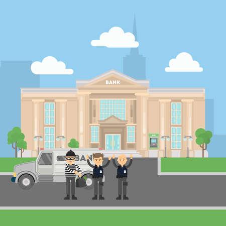 Cash transit veiligheid worden beroofd door dief in masker met een pistool. Concept van het stelen. Bankgebouw met doorvoer van. Stock Illustratie