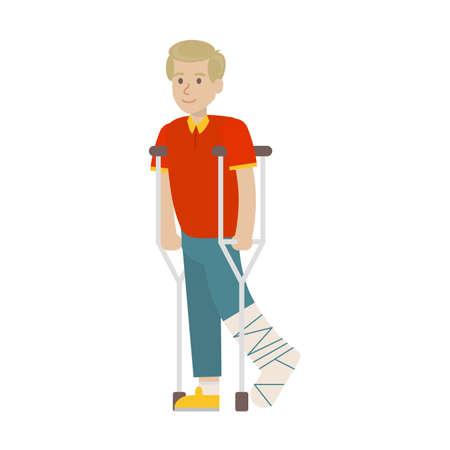 Homme avec une jambe cassée sur fond blanc. Jambe en plâtre. Sourire jeune garçon avec des béquilles.