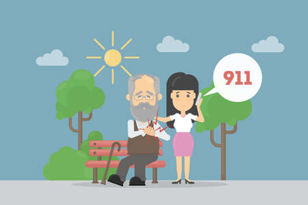 Heart attack symptoms. Woman calls 911 for emergency to help old man with heart attack. Illustration
