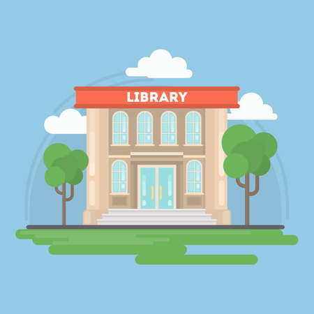 Isolated library building with landscape. Concept of study and education. Stock Illustratie