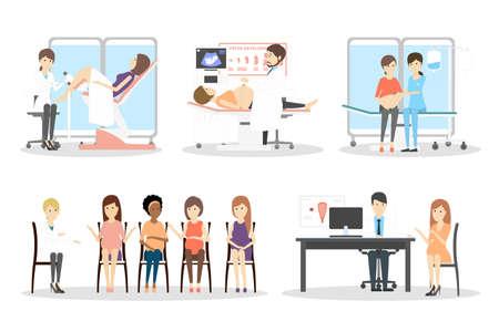 Prenatale kliniek set. Geïsoleerde karakters op witte achtergrond. Sonografie, gynaecoloog en zwangerschapsklas.