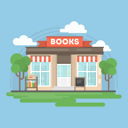 Book store building. Isolated urban building with sign and storefront. City landscape with clouds and trees. Illustration