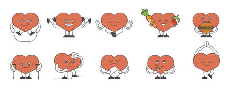 Heart lifestyle set on white background. Healthy heart with fresh food and sport. Sick heart with cigarettes, pills and illness. Illustration