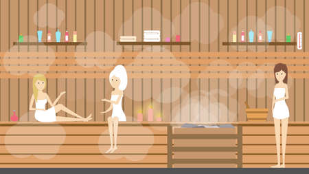 Sauna in spa center. Women visit healthy hot bath therapy in salon.