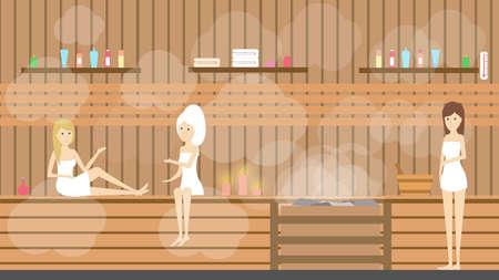 Sauna in spa center. Women visit healthy hot bath therapy in salon.