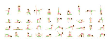 Yoga voor kinderen. Geïsoleerde poses en asanas voor kinderen op witte achtergrond.