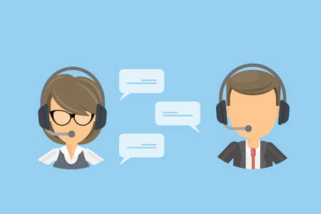 Call center concept. Woman and man in headsets with microphones. Idea of support, commerce and secretary. Иллюстрация