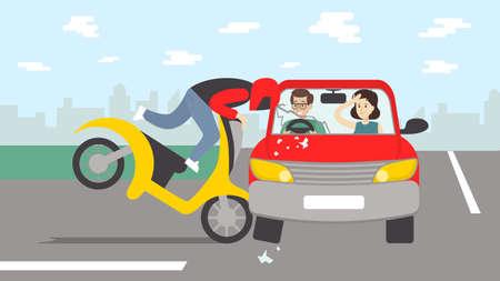 오토바이와 자동차 사고입니다. 도로에서 위험한 충돌. 헬멧에 오토바이 드라이버입니다. 일러스트